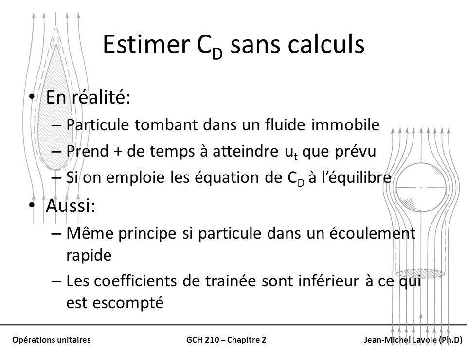 Opérations unitairesGCH 210 – Chapitre 2Jean-Michel Lavoie (Ph.D) Estimer C D sans calculs En réalité: – Particule tombant dans un fluide immobile – P