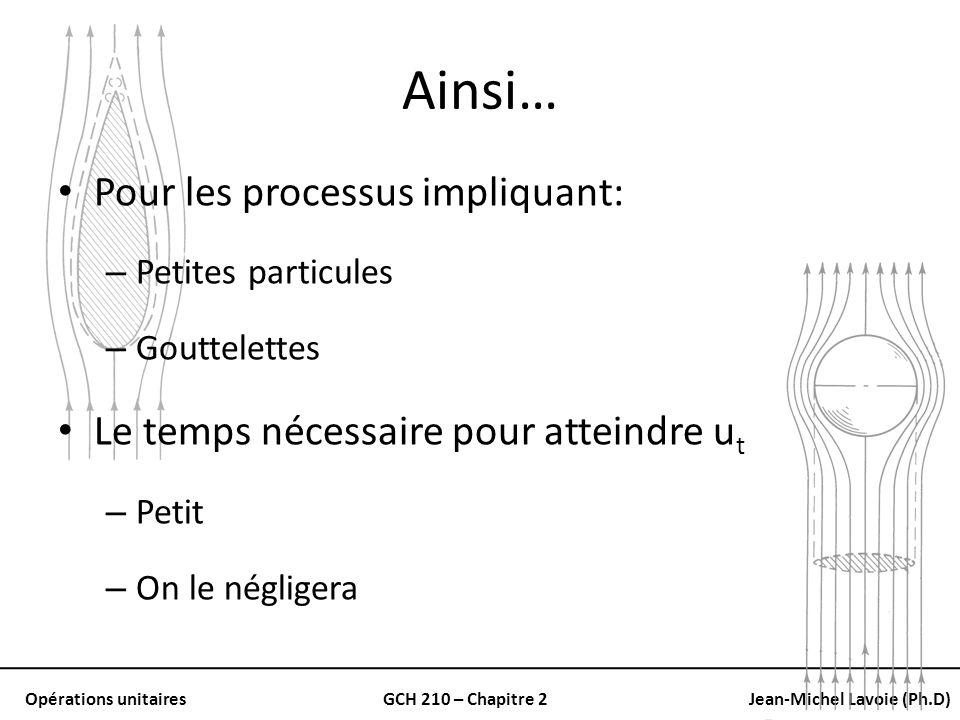 Opérations unitairesGCH 210 – Chapitre 2Jean-Michel Lavoie (Ph.D) Ainsi… Pour les processus impliquant: – Petites particules – Gouttelettes Le temps n