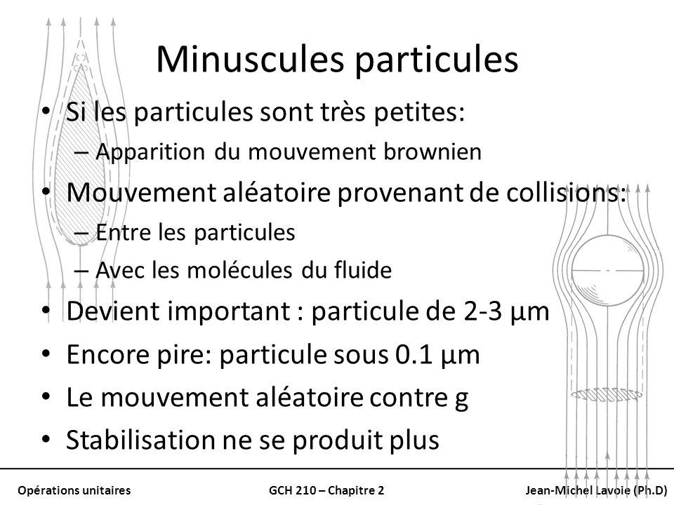 Opérations unitairesGCH 210 – Chapitre 2Jean-Michel Lavoie (Ph.D) Minuscules particules Si les particules sont très petites: – Apparition du mouvement