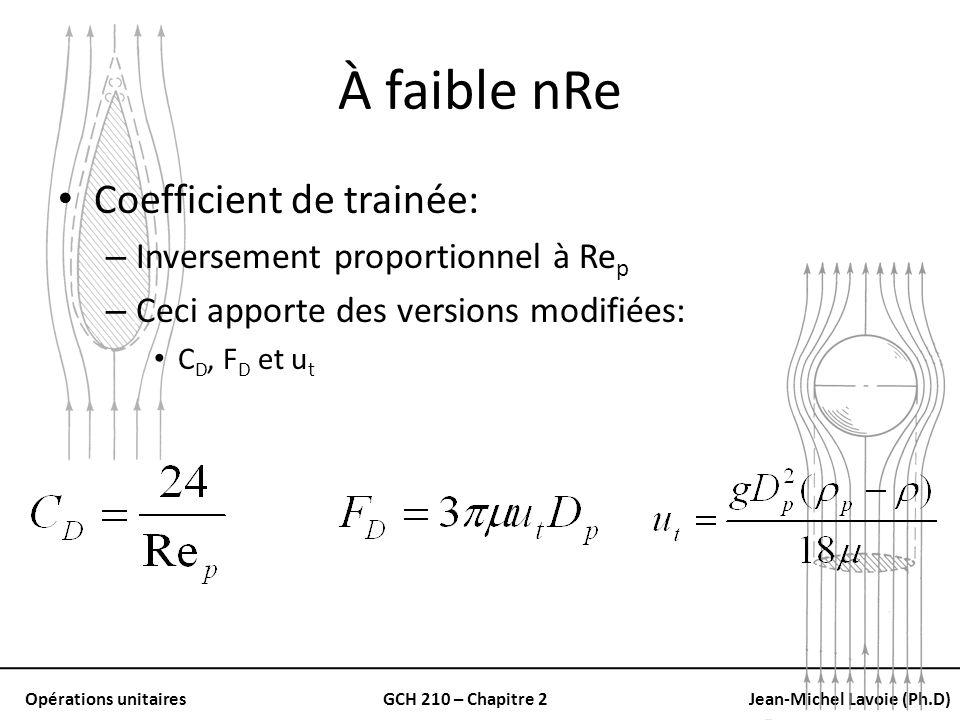Opérations unitairesGCH 210 – Chapitre 2Jean-Michel Lavoie (Ph.D) À faible nRe Coefficient de trainée: – Inversement proportionnel à Re p – Ceci appor