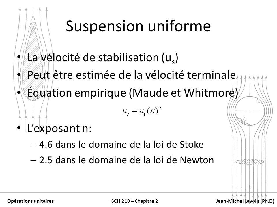 Opérations unitairesGCH 210 – Chapitre 2Jean-Michel Lavoie (Ph.D) Suspension uniforme La vélocité de stabilisation (u s ) Peut être estimée de la vélo