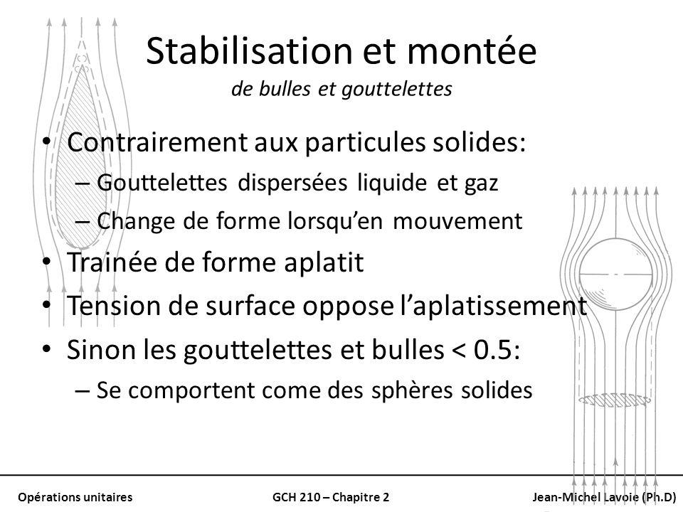 Opérations unitairesGCH 210 – Chapitre 2Jean-Michel Lavoie (Ph.D) Stabilisation et montée de bulles et gouttelettes Contrairement aux particules solid
