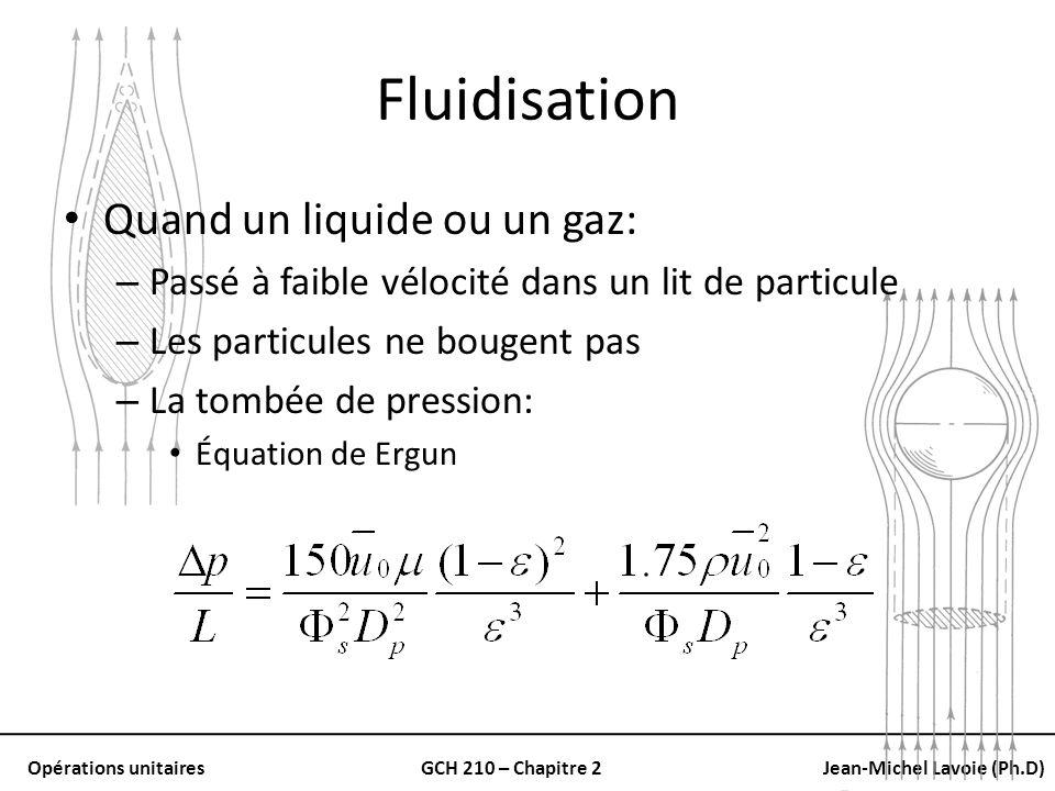 Opérations unitairesGCH 210 – Chapitre 2Jean-Michel Lavoie (Ph.D) Fluidisation Quand un liquide ou un gaz: – Passé à faible vélocité dans un lit de pa
