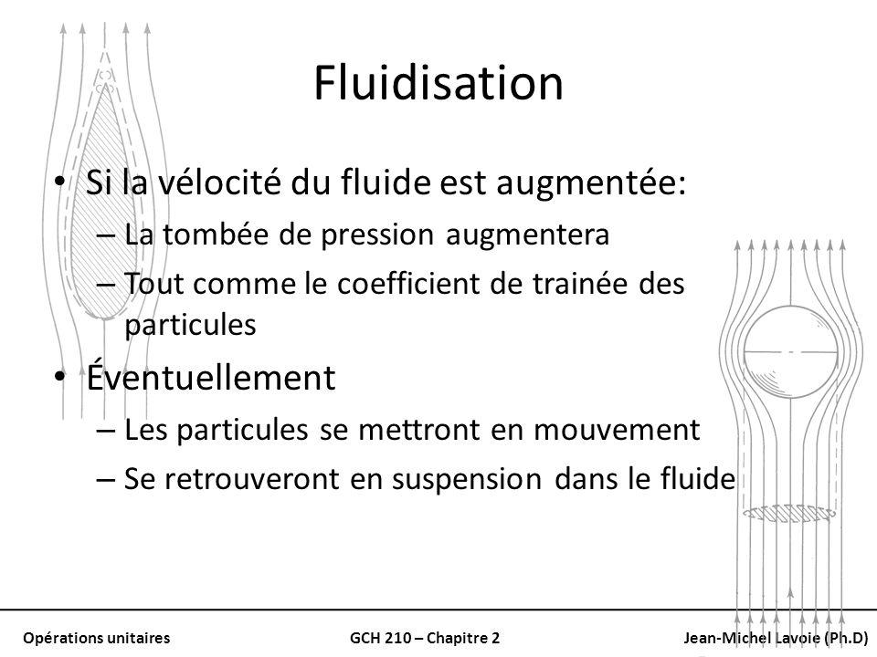 Opérations unitairesGCH 210 – Chapitre 2Jean-Michel Lavoie (Ph.D) Fluidisation Si la vélocité du fluide est augmentée: – La tombée de pression augment