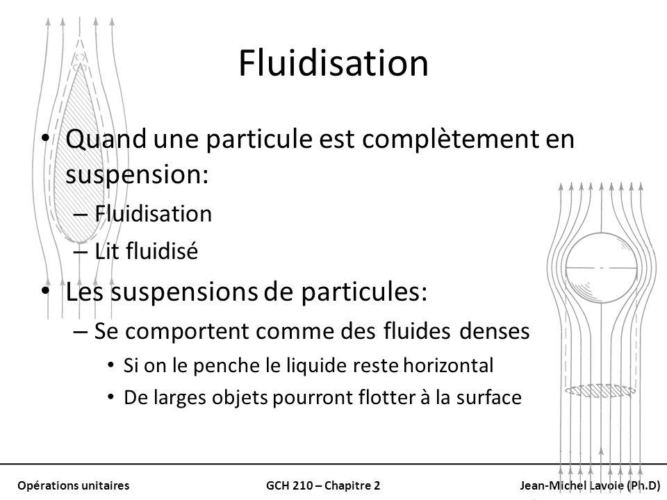 Opérations unitairesGCH 210 – Chapitre 2Jean-Michel Lavoie (Ph.D) Fluidisation Quand une particule est complètement en suspension: – Fluidisation – Li