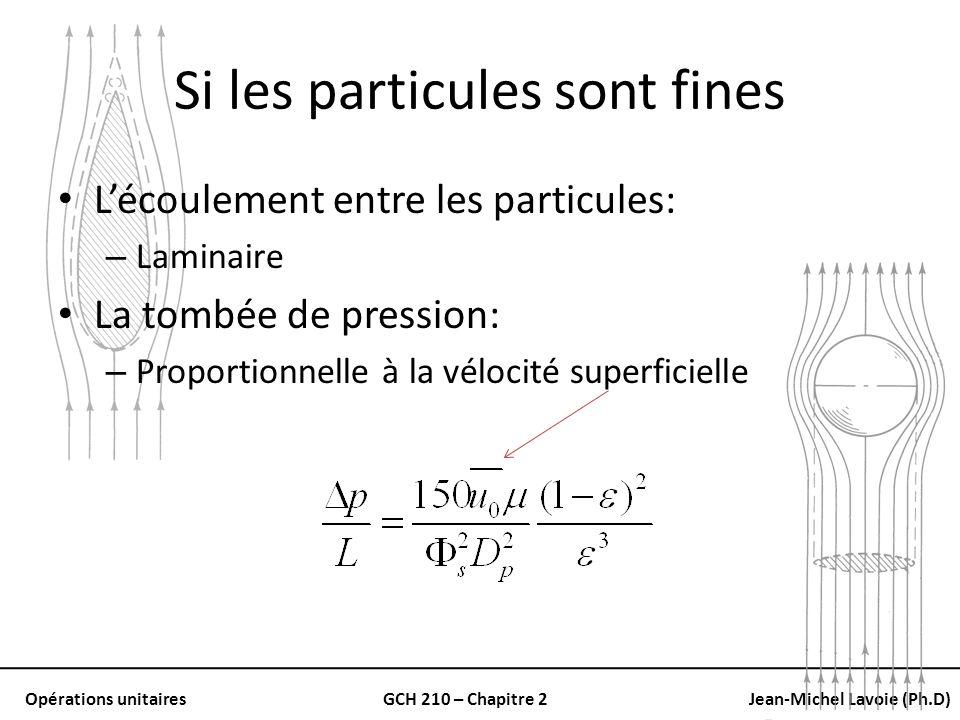 Opérations unitairesGCH 210 – Chapitre 2Jean-Michel Lavoie (Ph.D) Si les particules sont fines Lécoulement entre les particules: – Laminaire La tombée