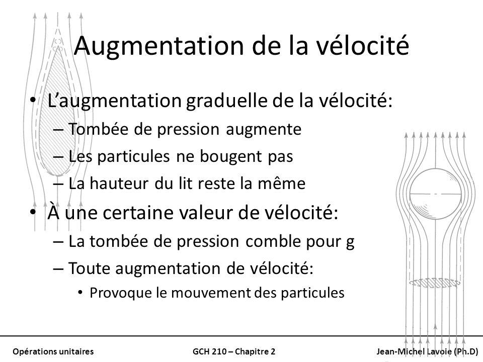 Opérations unitairesGCH 210 – Chapitre 2Jean-Michel Lavoie (Ph.D) Augmentation de la vélocité Laugmentation graduelle de la vélocité: – Tombée de pres