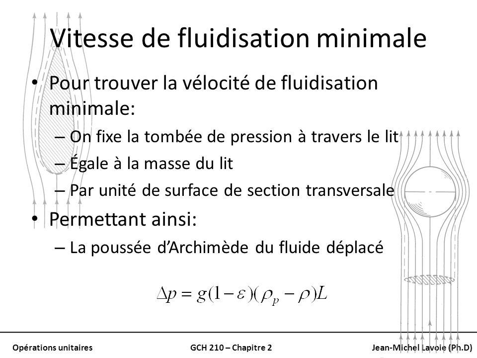 Opérations unitairesGCH 210 – Chapitre 2Jean-Michel Lavoie (Ph.D) Vitesse de fluidisation minimale Pour trouver la vélocité de fluidisation minimale:
