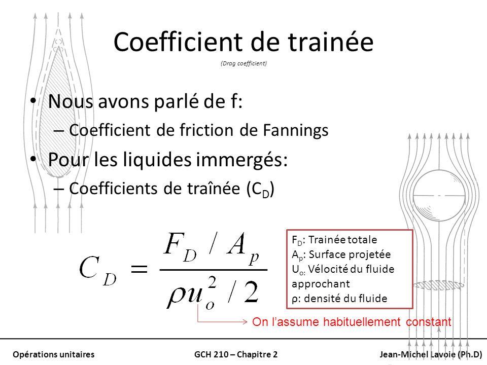 Opérations unitairesGCH 210 – Chapitre 2Jean-Michel Lavoie (Ph.D) Suspension uniforme La vélocité de stabilisation (u s ) Peut être estimée de la vélocité terminale Équation empirique (Maude et Whitmore) Lexposant n: – 4.6 dans le domaine de la loi de Stoke – 2.5 dans le domaine de la loi de Newton