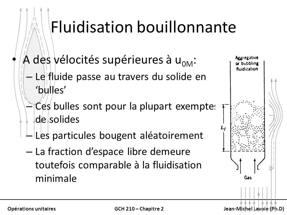 Opérations unitairesGCH 210 – Chapitre 2Jean-Michel Lavoie (Ph.D) Fluidisation bouillonnante A des vélocités supérieures à u 0M : – Le fluide passe au