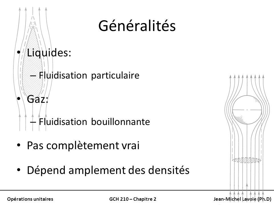 Opérations unitairesGCH 210 – Chapitre 2Jean-Michel Lavoie (Ph.D) Généralités Liquides: – Fluidisation particulaire Gaz: – Fluidisation bouillonnante