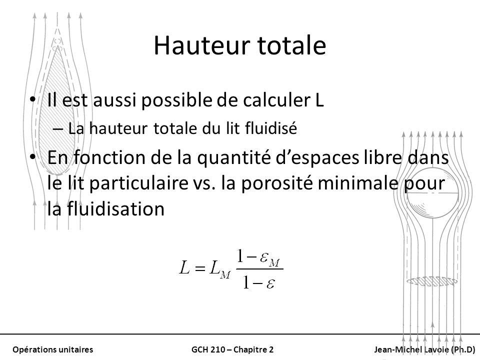 Opérations unitairesGCH 210 – Chapitre 2Jean-Michel Lavoie (Ph.D) Hauteur totale Il est aussi possible de calculer L – La hauteur totale du lit fluidi