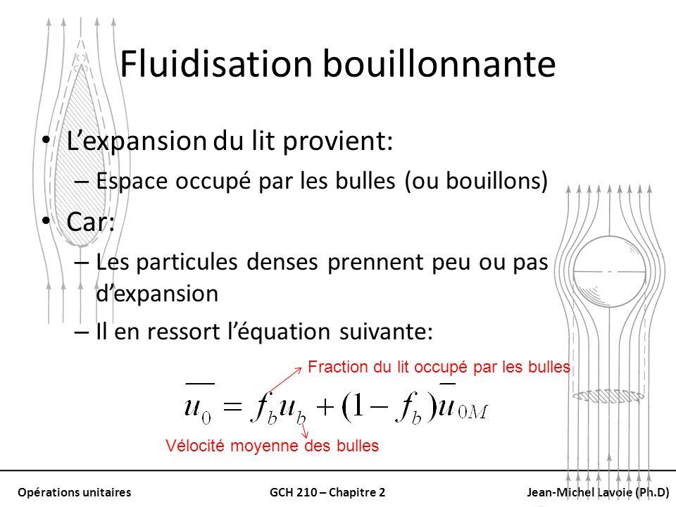 Opérations unitairesGCH 210 – Chapitre 2Jean-Michel Lavoie (Ph.D) Fluidisation bouillonnante Lexpansion du lit provient: – Espace occupé par les bulle