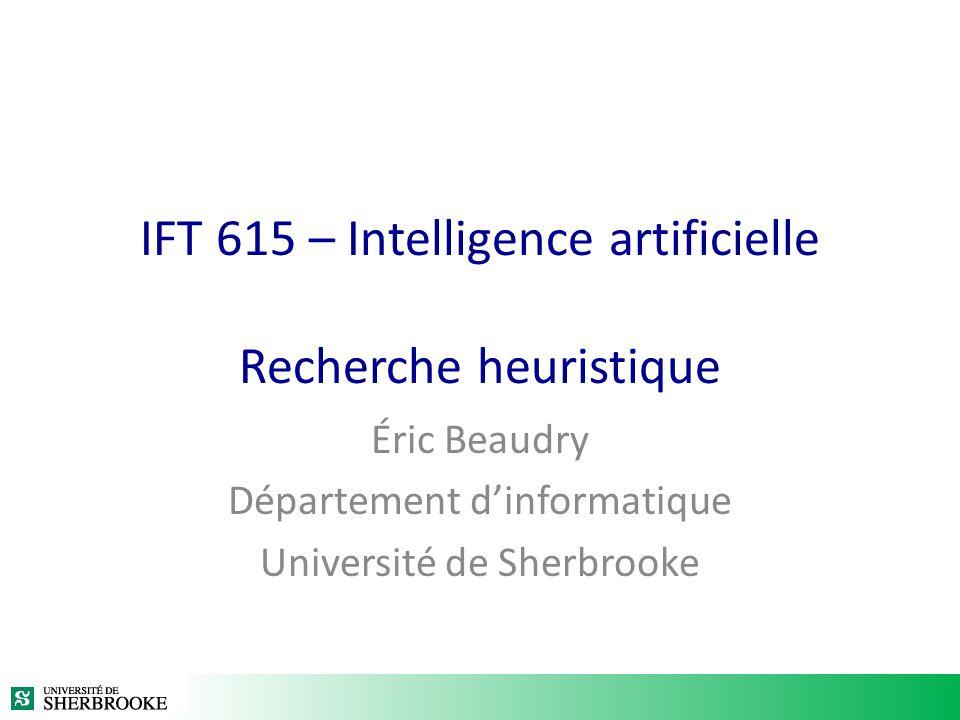 Résolution de problème par une recherche heuristique dans un graphe La recherche heuristique est à la base de beaucoup dapproches en IA Approche générale – Pour une application donnée, lespace de solutions est représenté à laide dun graphe – Un problème particulier pour une application donnée est résolu par une recherche dans le graphe En général – Le graphe est défini récursivement – Une heuristique est utilisée pour guider la recherche – Les heuristiques exploitent les connaissances du domaine dapplication IFT615 - Été 201112© Éric Beaudry et Froduald Kabanza