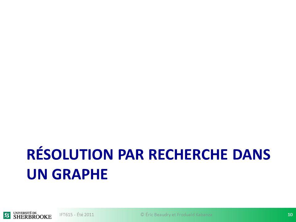 RÉSOLUTION PAR RECHERCHE DANS UN GRAPHE IFT615 - Été 201110© Éric Beaudry et Froduald Kabanza