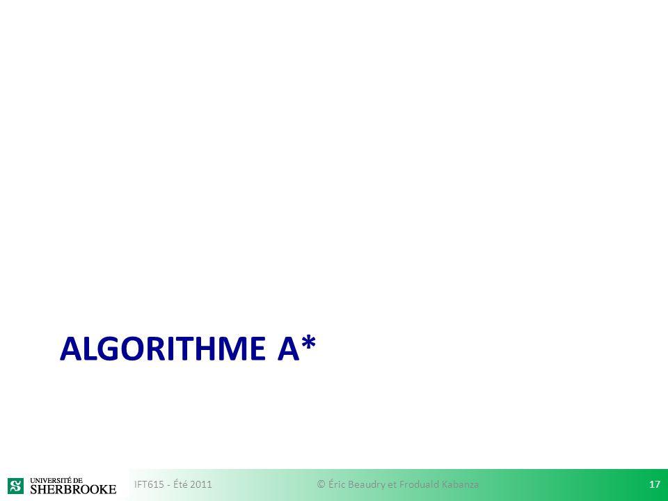 ALGORITHME A* IFT615 - Été 201117© Éric Beaudry et Froduald Kabanza