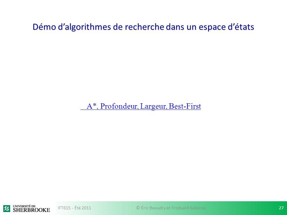 Démo dalgorithmes de recherche dans un espace détats A*, Profondeur, Largeur, Best-First IFT615 - Été 201127© Éric Beaudry et Froduald Kabanza