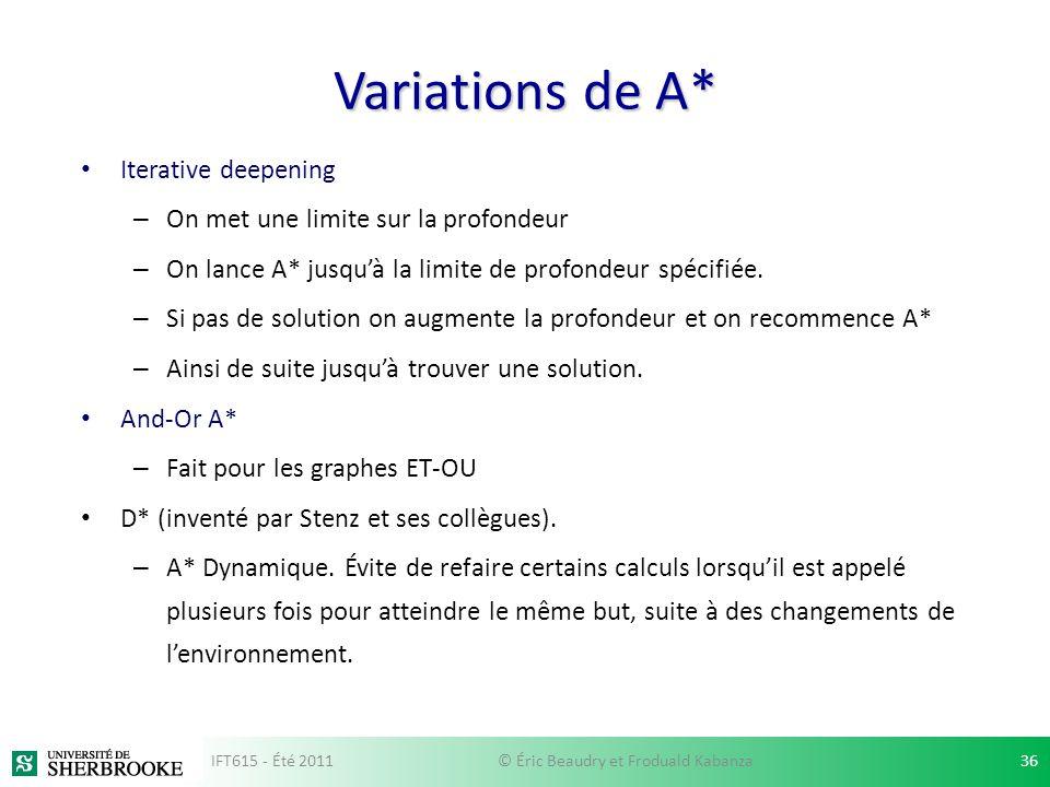 Variations de A* Iterative deepening – On met une limite sur la profondeur – On lance A* jusquà la limite de profondeur spécifiée. – Si pas de solutio