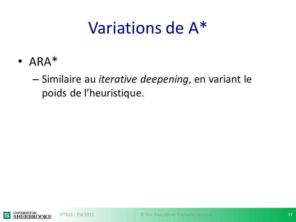 Variations de A* ARA* – Similaire au iterative deepening, en variant le poids de lheuristique. IFT615 - Été 201137© Éric Beaudry et Froduald Kabanza