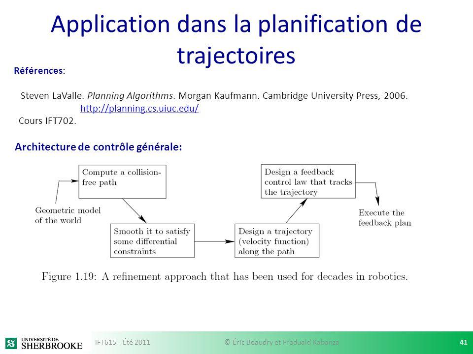 Application dans la planification de trajectoires Références: Steven LaValle. Planning Algorithms. Morgan Kaufmann. Cambridge University Press, 2006.