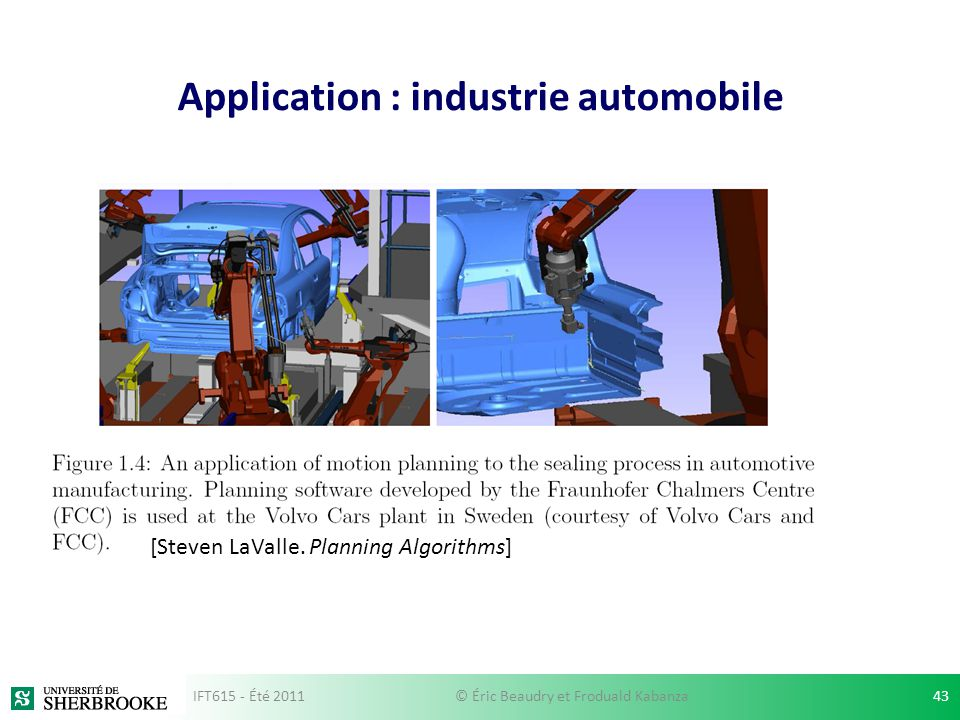 Application : industrie automobile [Steven LaValle.