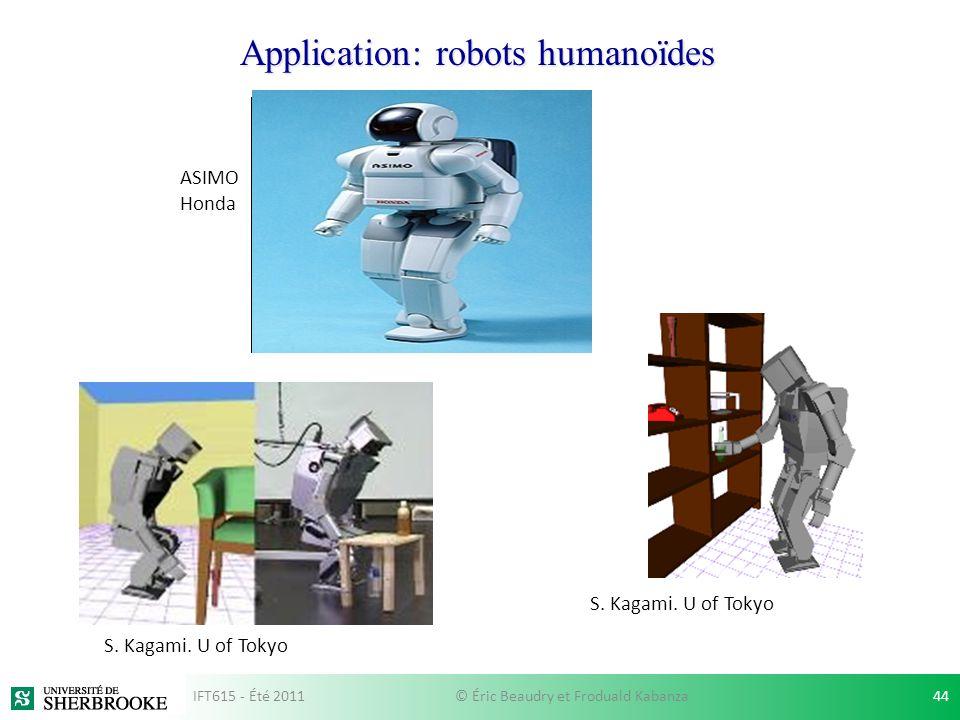Application: robots humanoïdes S. Kagami. U of Tokyo ASIMO Honda S. Kagami. U of Tokyo IFT615 - Été 201144© Éric Beaudry et Froduald Kabanza