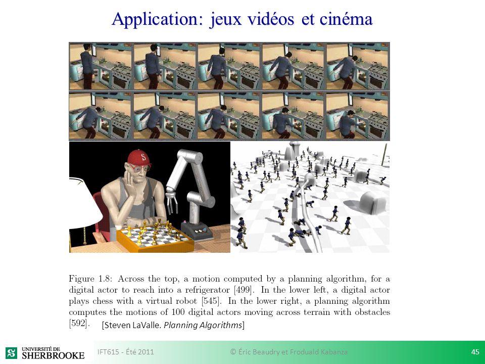 Application: jeux vidéos et cinéma [Steven LaValle. Planning Algorithms] IFT615 - Été 201145© Éric Beaudry et Froduald Kabanza