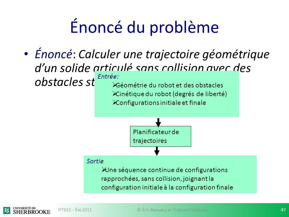 Énoncé du problème Énoncé: Calculer une trajectoire géométrique dun solide articulé sans collision avec des obstacles statiques. Planificateur de traj