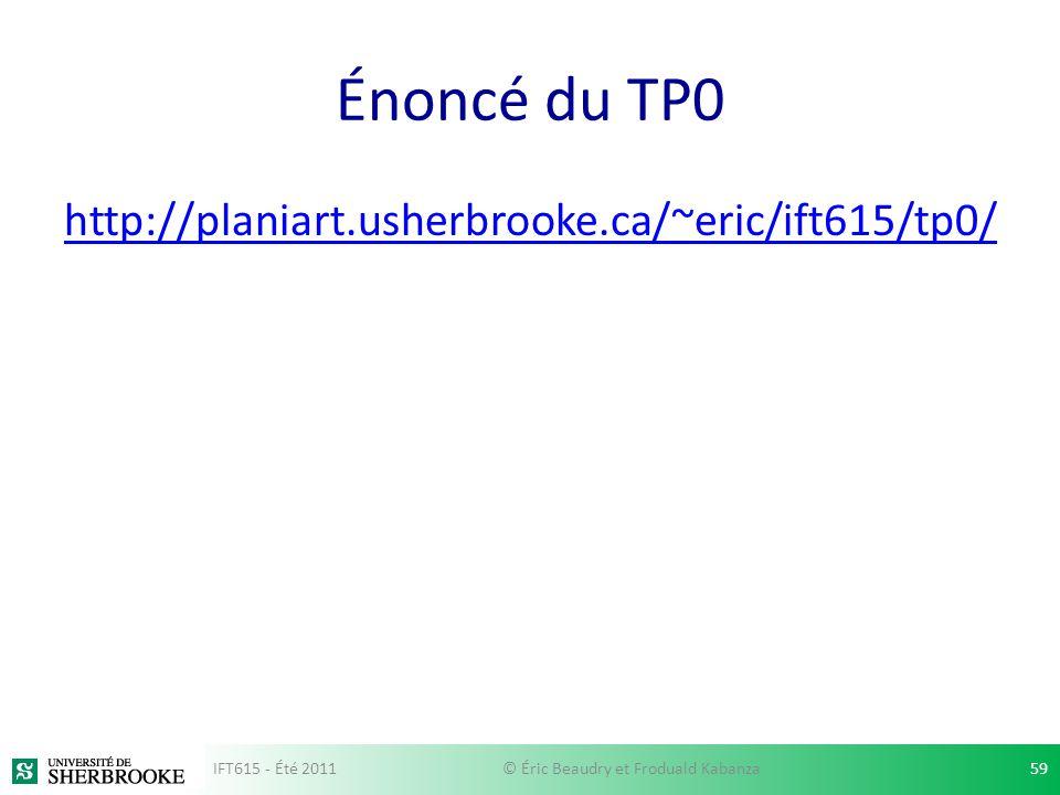 Énoncé du TP0 http://planiart.usherbrooke.ca/~eric/ift615/tp0/ IFT615 - Été 2011© Éric Beaudry et Froduald Kabanza59