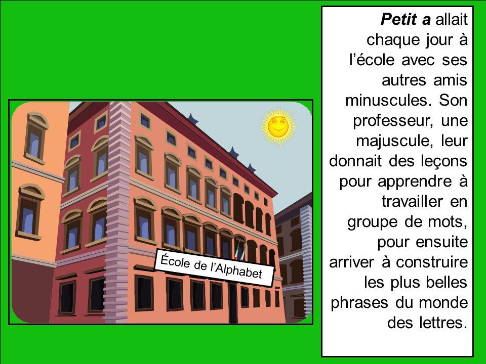 École de lAlphabet Petit a allait chaque jour à lécole avec ses autres amis minuscules.
