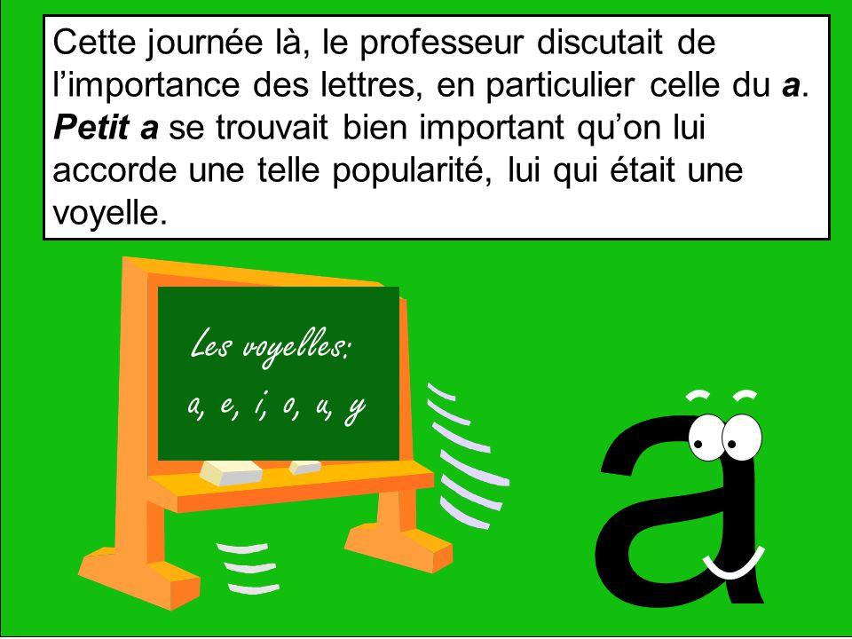 a Les voyelles: a, e, i, o, u, y Cette journée là, le professeur discutait de limportance des lettres, en particulier celle du a.