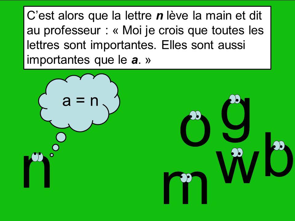 g m o n b w a = n Cest alors que la lettre n lève la main et dit au professeur : « Moi je crois que toutes les lettres sont importantes.