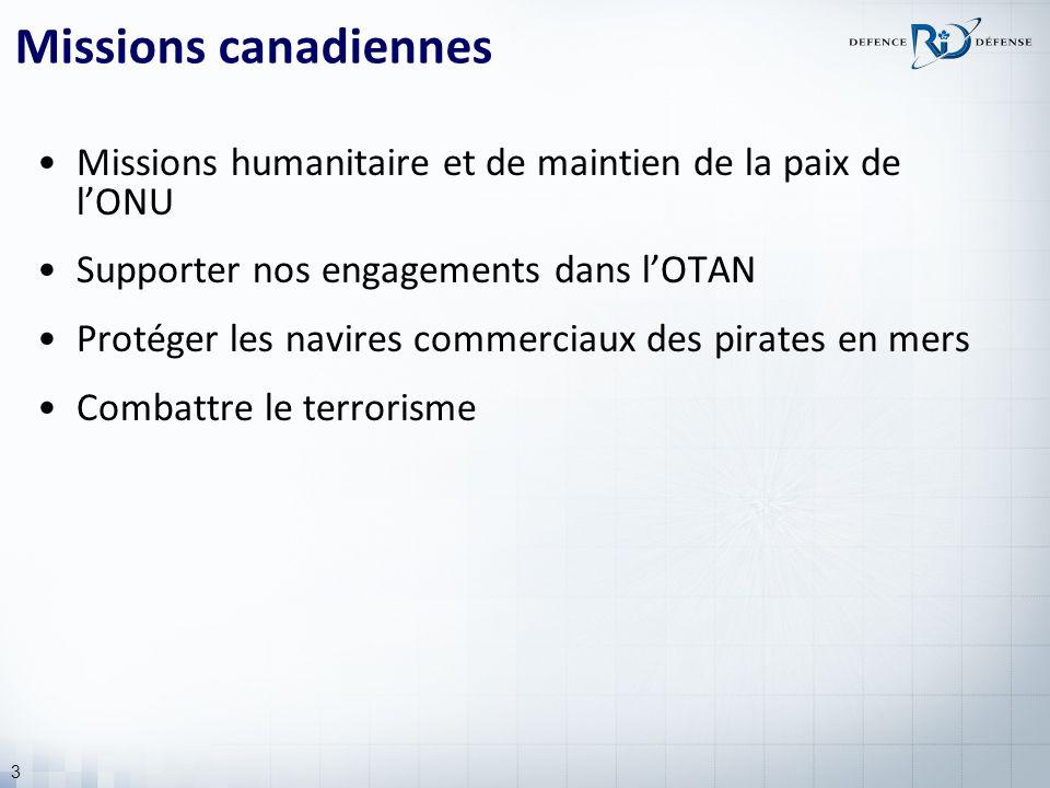 3 Missions canadiennes Missions humanitaire et de maintien de la paix de lONU Supporter nos engagements dans lOTAN Protéger les navires commerciaux des pirates en mers Combattre le terrorisme