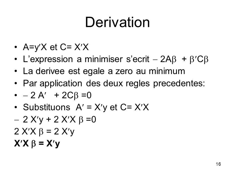 15 Derivation Nous devons minimiser 2y X + X X par rapport a Changeons la notation et ecrivons A=y X and C= X X Lexpression sexprime: 2A + C Nous appl
