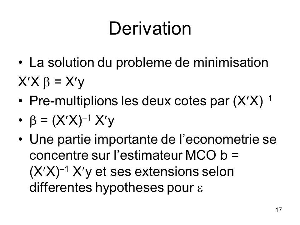 16 Derivation A=y X et C= X X Lexpression a minimiser secrit 2A + C La derivee est egale a zero au minimum Par application des deux regles precedentes