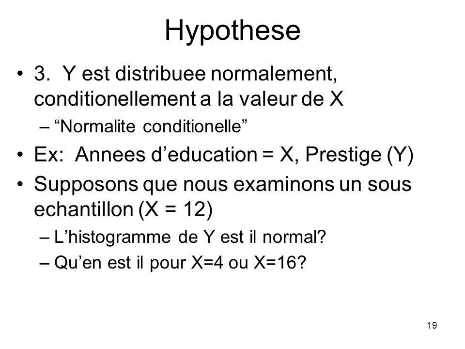 18 Hypotheses Pour une regression bivariee donnee 1. Echantillon aleatoire –Au moins N > 20 2. La relation entre variable est lineaire –i.e., la moyen