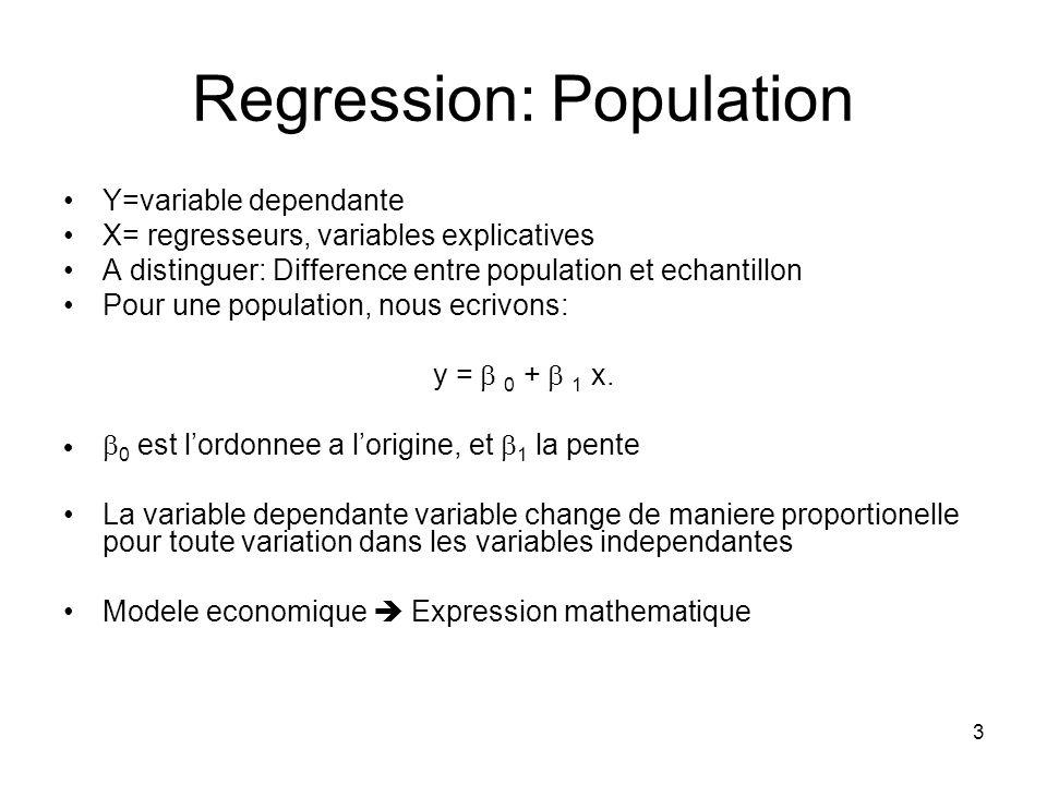 3 Regression: Population Y=variable dependante X= regresseurs, variables explicatives A distinguer: Difference entre population et echantillon Pour une population, nous ecrivons: y = 0 + 1 x.
