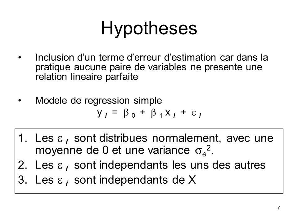 7 Hypotheses Inclusion dun terme derreur destimation car dans la pratique aucune paire de variables ne presente une relation lineaire parfaite Modele de regression simple y i = 0 + 1 x i + i 1.Les i sont distribues normalement, avec une moyenne de 0 et une variance e 2.