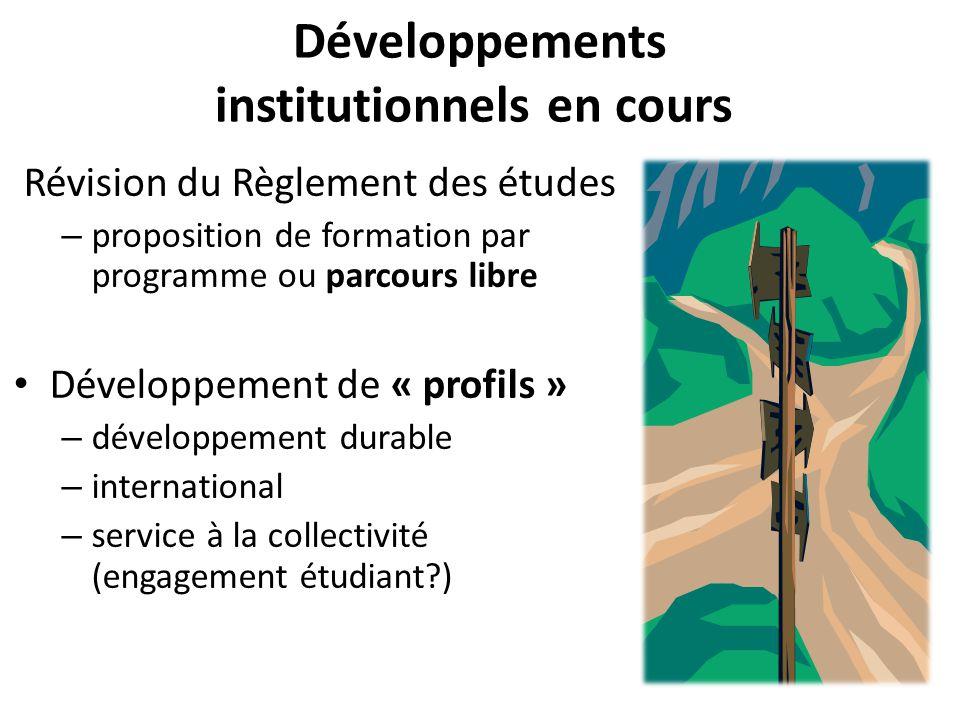 Développements institutionnels en cours Révision du Règlement des études – proposition de formation par programme ou parcours libre Développement de «