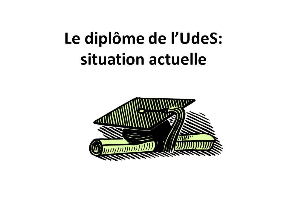 Le diplôme de lUdeS: situation actuelle