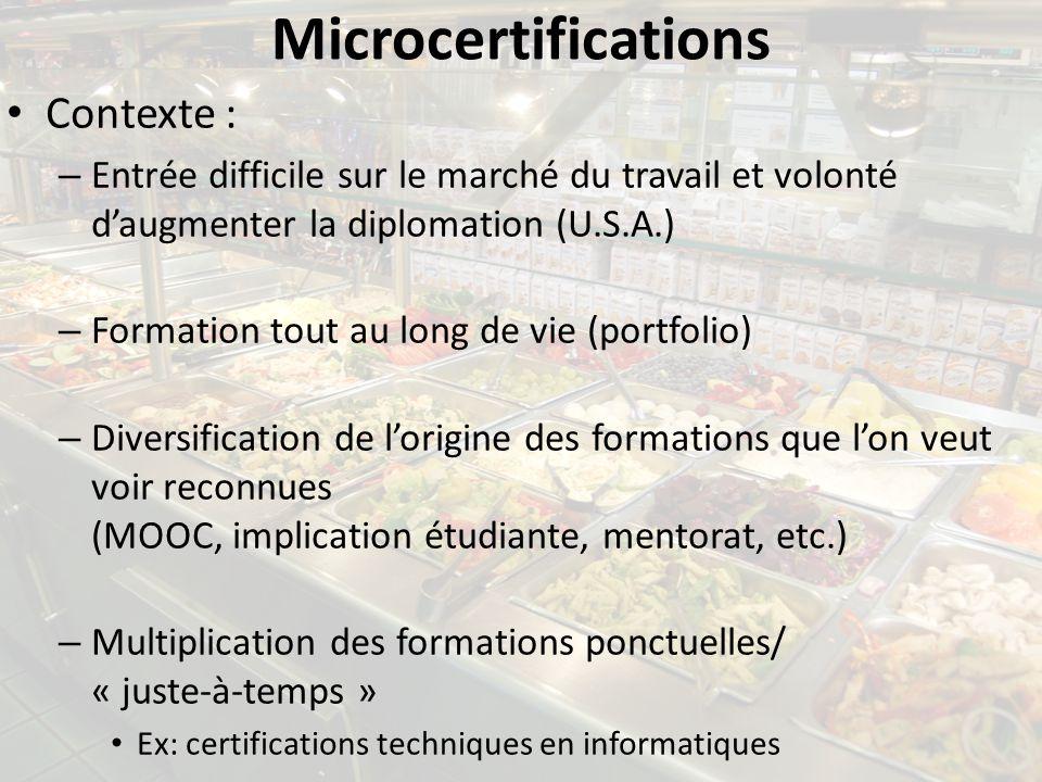 Microcertifications Contexte : – Entrée difficile sur le marché du travail et volonté daugmenter la diplomation (U.S.A.) – Formation tout au long de v