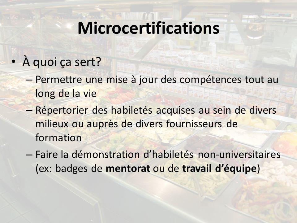 Microcertifications À quoi ça sert? – Permettre une mise à jour des compétences tout au long de la vie – Répertorier des habiletés acquises au sein de