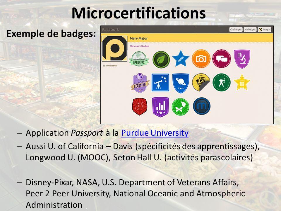 Microcertifications – Application Passport à la Purdue UniversityPurdue University – Aussi U. of California – Davis (spécificités des apprentissages),