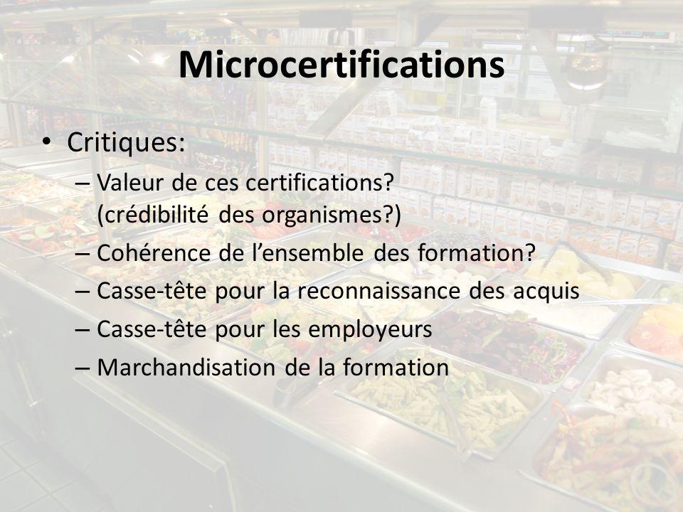 Microcertifications Critiques: – Valeur de ces certifications? (crédibilité des organismes?) – Cohérence de lensemble des formation? – Casse-tête pour