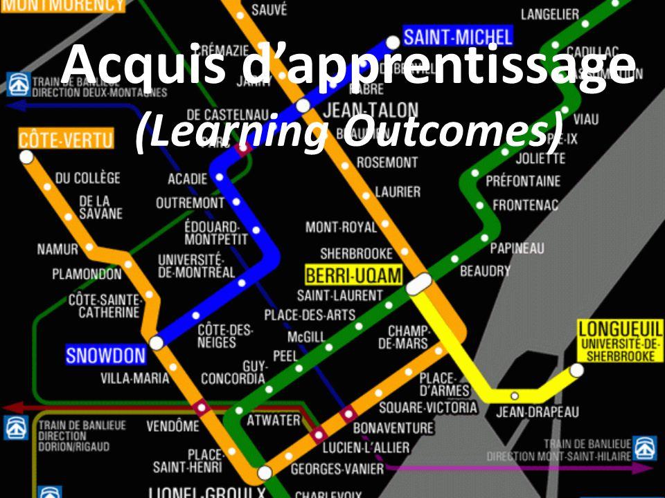 Acquis dapprentissage (Learning Outcomes)