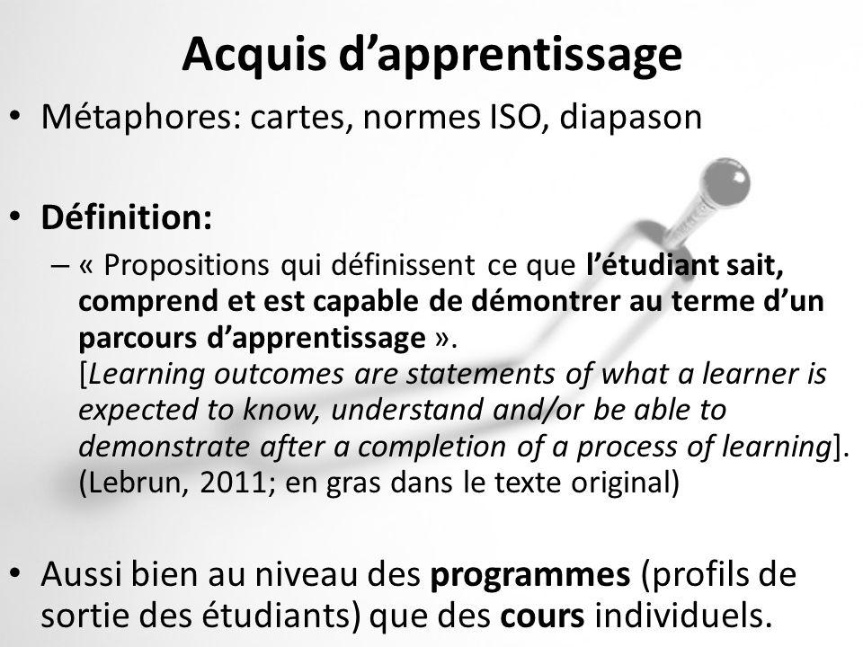 Acquis dapprentissage Métaphores: cartes, normes ISO, diapason Définition: – « Propositions qui définissent ce que létudiant sait, comprend et est cap