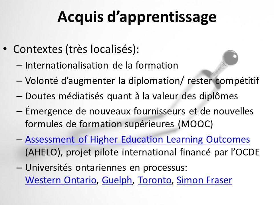 Acquis dapprentissage Contextes (très localisés): – Internationalisation de la formation – Volonté daugmenter la diplomation/ rester compétitif – Dout
