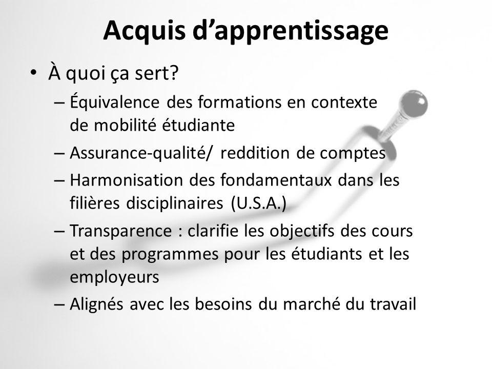 Acquis dapprentissage À quoi ça sert? – Équivalence des formations en contexte de mobilité étudiante – Assurance-qualité/ reddition de comptes – Harmo