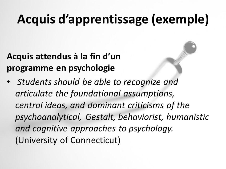 Acquis dapprentissage (exemple) Acquis attendus à la fin dun programme en psychologie Students should be able to recognize and articulate the foundati