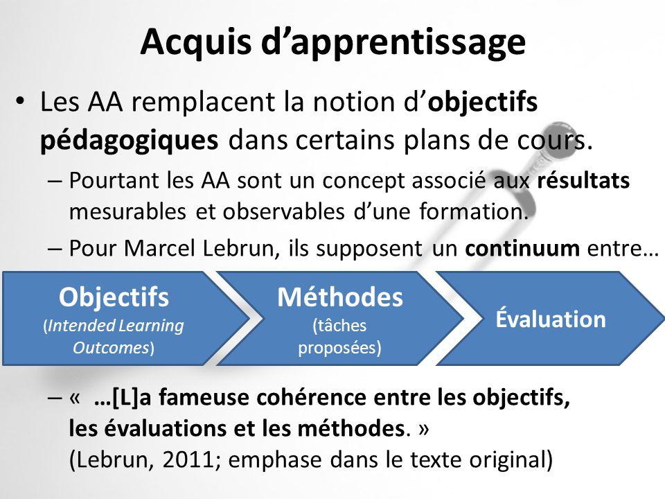 Acquis dapprentissage Les AA remplacent la notion dobjectifs pédagogiques dans certains plans de cours. – Pourtant les AA sont un concept associé aux